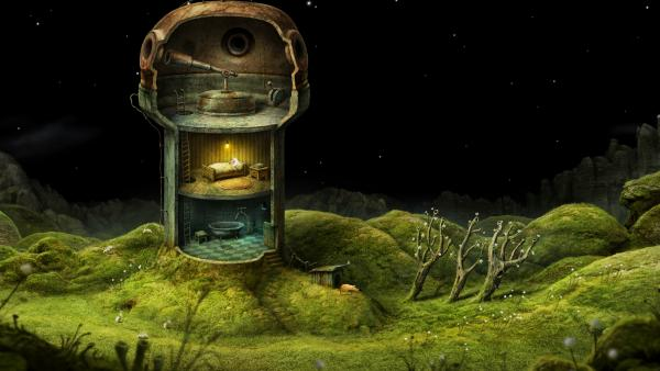 Screenshot: Die Hauptfigur liegt in einem Bett in einem dreistöckigen Turm. Der oberste Stock ist ein Observatorium mit Teleskop.