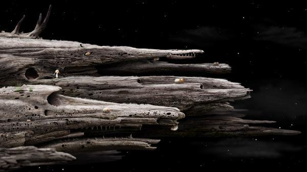 Screenshot: Die Hauptfigur steht auf einem Gebilde, das wie ein horizontal gedrehtes Termitennest aussieht. Einzelne, riesige Termiten krabbeln darauf herum. Im Hintergrund ist eine sternenklare Nacht.