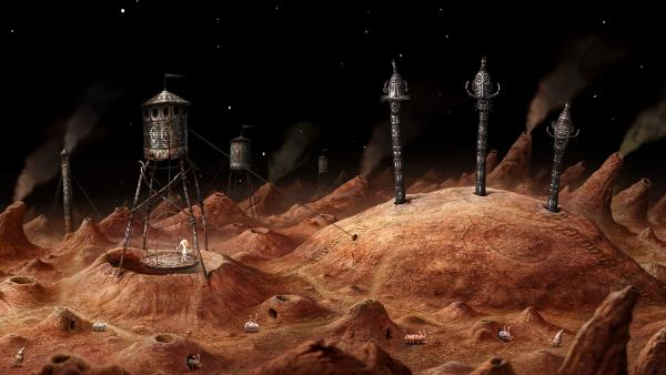 Screenshot: Die Hauptfigur steht in einem Minenaufzug, der über einem großen Loch hängt.. Die Umgebung erinnert an eine rote Sandsteinwüste, in der vereinzelt skurrile käferartige Tiere herumwandern.