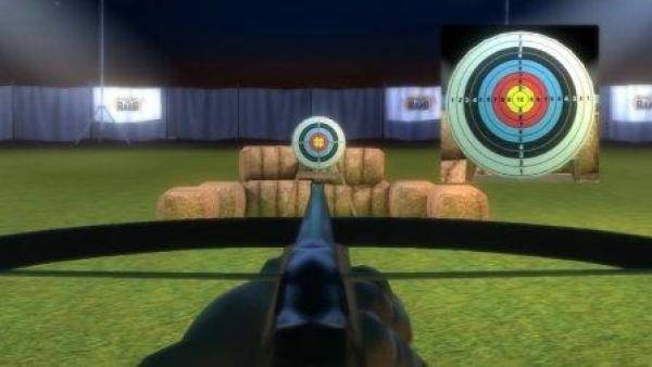 Eine Armbrust ist auf eine Zielscheibe gerichtet.