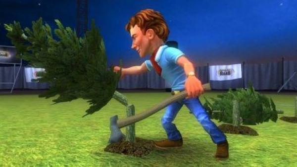 Ein Mann fällt einen Baum.