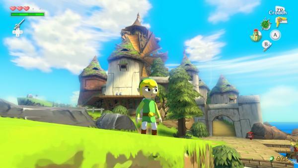 Der Hauptdarsteller Link vor einer Hafenstadt mit Windmühle
