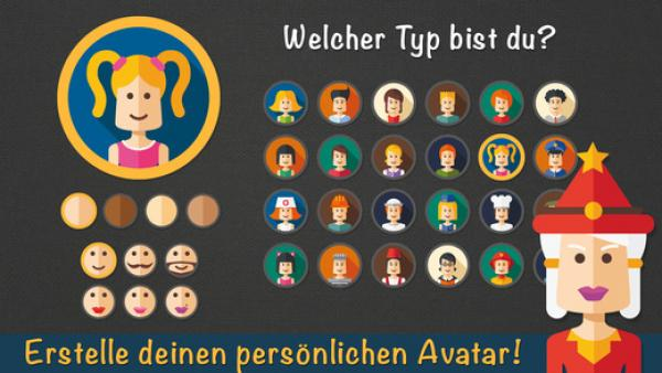 Screenshot: Auswahlbildschirm für den persönlichen Avatar
