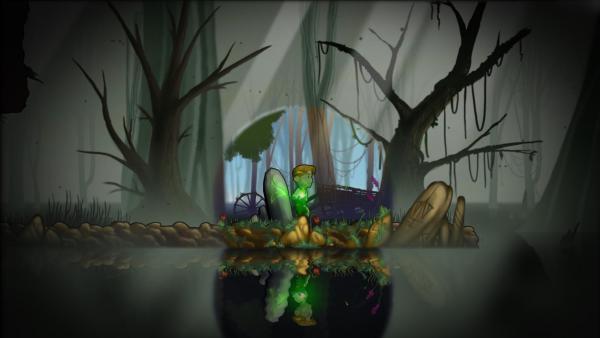 Der Hauptcharakter steht mit einer grün leuchtenden Flamme in der Hand in einem Moor.