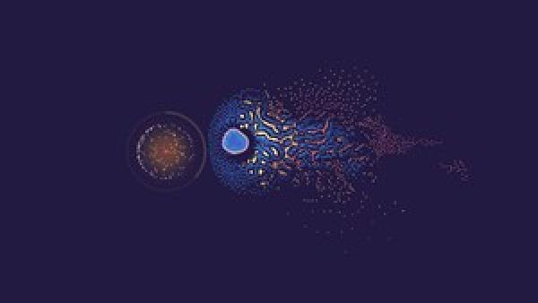 verschiedenfarbige Partikel