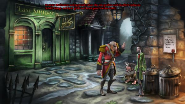 Screenshot: Der Engel wird von der Stadtwache verwarnt, da er ein verbot missachtet hat.