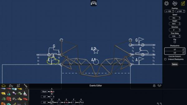 Screenshot: Konstruktionsmenü, das im Stil typischer Blaupausen gehalten ist.