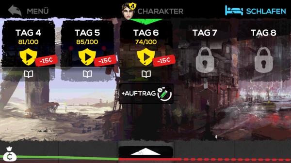 Das Spielmenü zeigt die gespielten Tage und mögliche Aufträge.