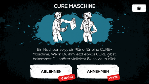 Alice wird mit der Entscheidung konfrontiert, in eine CURE-Maschine zu investieren.