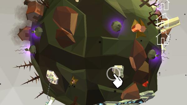 Screenshot: Ein kleiner Planet ist zu sehen. Darauf sind Bäume, Steine und der Androide Sam. Im Tutorial-Hinweis wird angezeigt, dass der Planet nun eine neue Maschine hat.