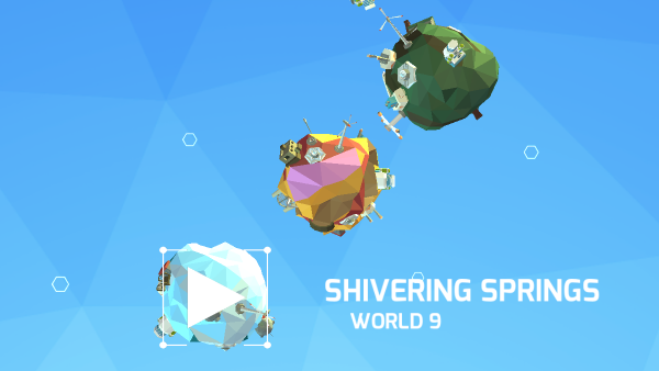 Screenshot: Das Spielmenü besteht aus winzigen Planeten, die man anwählen kann.