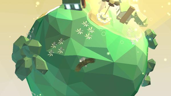Screenshot: Ein Level wurde geschafft. Es gibt wieder Leben auf dem kleinen Planeten. Ein Adler fliegt in der Luft und Blumen wachsen auf dem Gras.