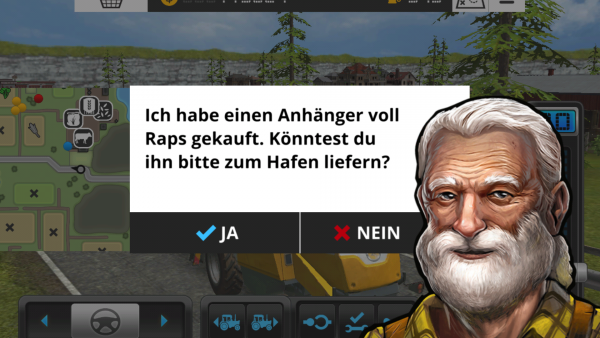 Screenshot: Ein alter Bauer bittet um Hilfe.