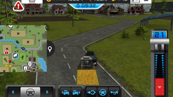 Screenshot: Ein Mähdrescher fährt auf der Straße, links ist die Übersichtskarte offen.