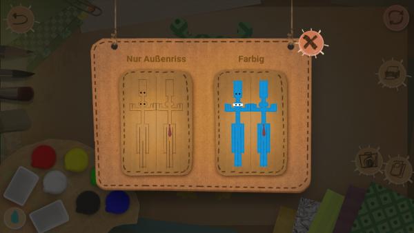 Screenshot: Beim Ausdrucken der Bastelvorlage kann zwischen Außenriss und Farbig gewählt werden.