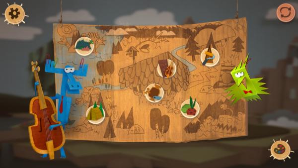 Screenshot: Das Spielmenü stellt eine Landkarte dar, auf der sechs Orte eingezeichnet sind.