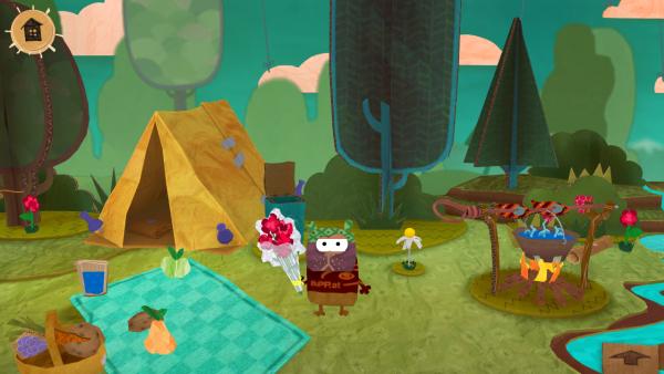Screenshot: Im Wald ist ein Zelt, eine Picknickdecke und eine Feuerstelle. Ein Hamster hält einen Blumenstrauß in der Hand.