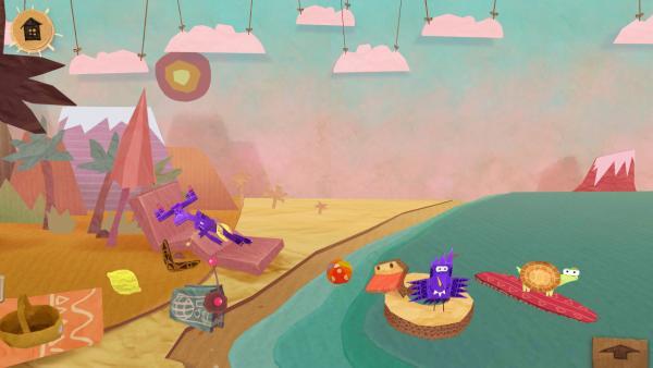 Screenshot: Ein Elch, ein Vogel und eine Schildkröte befinden sich am Strand und am Meer.