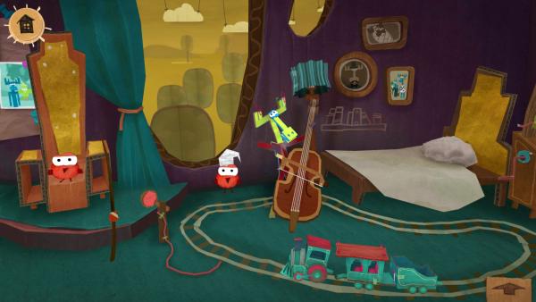 Screenshot: Ein Elch spielt Kontrabass.