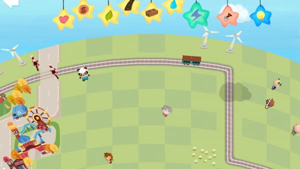 Screenshot: Eine Freifläche am Rande einer Stadt. Durchzogen von einer Bahnlinie.