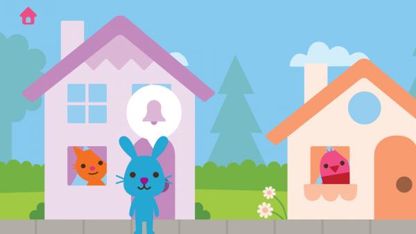 Screenshot: eine blaue Hasenfigur steht vor einem rosa Haus, aus dessen Fenster eine orange Katzenfigur schaut. Rechts daneben ist ein oranges Haus bei der eine rosa Vogelfigur aus dem Fenster sieht.