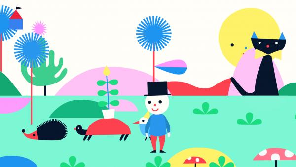 Screenshot: Teku befindet sich in einer Landschaft mit Tieren und Pflanzen.