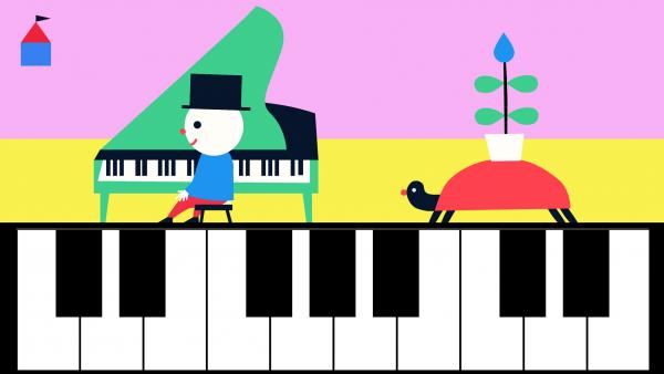 Screenshot: In einer interaktiven Szene kann ein virtuelles Klavier gespielt werden.