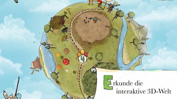 """Screenshot: Gezeichnete Mini-Weltkugel mit diversen Objekten wie Bäume, ein Fluss und Gebirge, ein rundes Zelt, eine Windmühle und Tiger und Bär. Rechts unten steht """"Erkunde die interaktive 3D-Welt"""""""