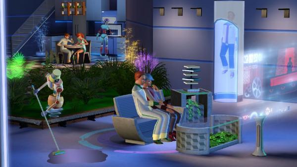 Abgebildete Wohnung mit putzendem Plumbot und neuen Technologien