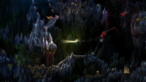 Screenshot: 2D Darstellung einer Unterwasserhöhle; es ist dunkel und seltsame Unterwasserkreaturen schweben neben einem kleinen U-Boot. Eine versunkene Brücke führt zu einem mittelalterlichen Tor.