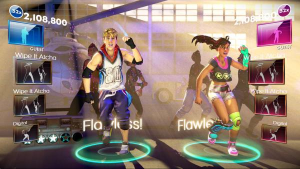 Das Bild zeigt zwei Tanzende und neben ihnen die Liste der bevorstehenden Bewegungen.