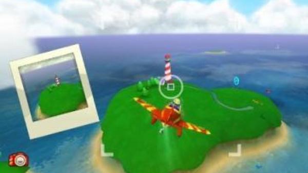 Ein Flugzeug fliegt auf eine Insel zu.