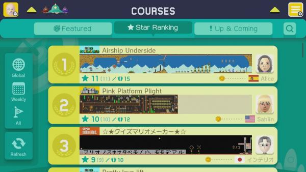 Screenshot: Levelübersicht mit Ranking