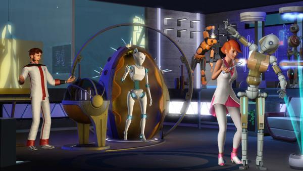 Sims beim Bauen von Plumbots