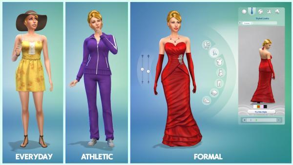 Erstelle einen Sim-Modus: Simfrau in verschiedenen Kleidern.