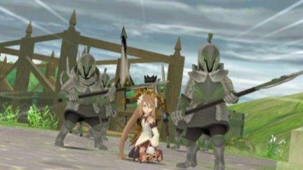 Ein Spielcharakter umgeben von zwei Soldaten.