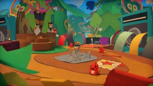 Screenshot: bunte Papierwelt mit Eichkätzchen