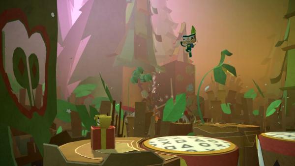 Eine Papierfigur springt durch einen Wald.