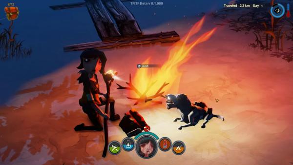 Screenshot: Das Mädchen sitzt mit dem Hund am Lagerfeuer