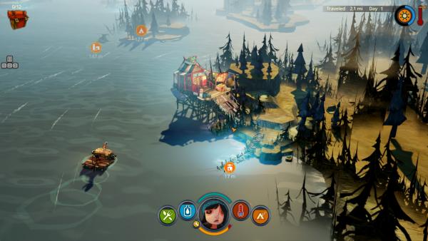 Screenshot: Das Mädchen ist mit dem Floß am Fluss unterwegs.