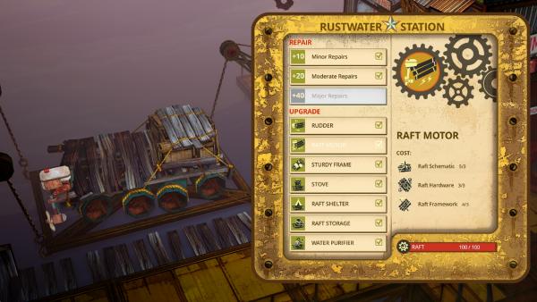 Screenshot: In Werkstädten kann das Floß repariert und verbessert werden.