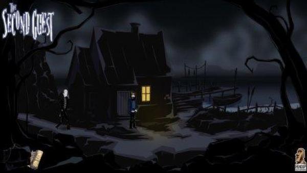 Zwei Personen stehen vor einem dunklen Gebäude. Nur ein Fenster ist beleuchtet.