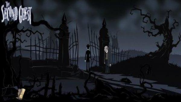 Zwei Personen stehen am Eingang eines Friedhofes.
