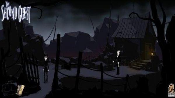 Zwei Personen vor einer dunklen, unheimlichen Landschaft.