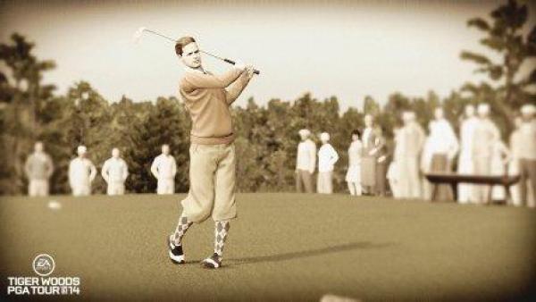 Ein Golfspieler nach dem Abschlag - im Legendenmodus.