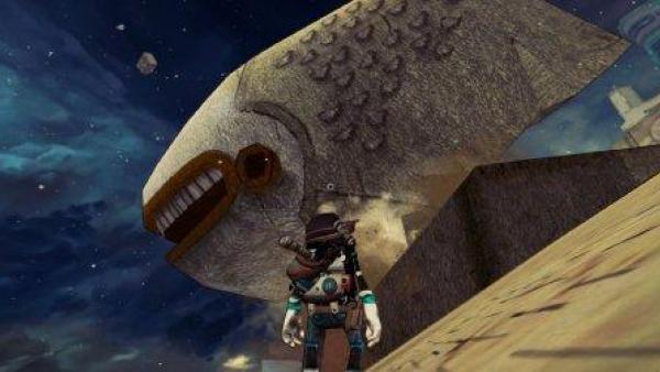 Eine Spielfigur steht vor einem fischförmigen Gebäude.