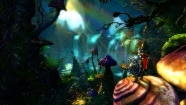 Ein Ritter steht in einem Märchenwald in der Dämmerung.