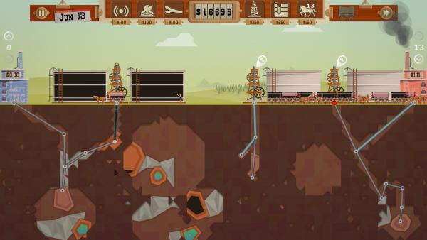 Screenshot: Seitenansicht einer Landschaft und deren Untergrund mit verschiedenen Gesteinsformationen und Öleinschlüssen. Auf der Oberfläche sind Bohrtürme deren Bohrschächte in den Untergrund reichen.