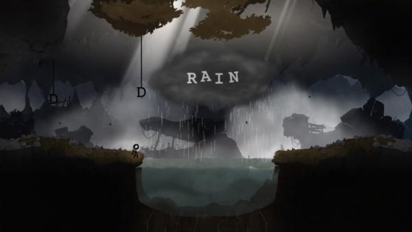 Screenshot: Das Strichmännchen muss eine Regenwolke durch Buchstabenkombinationen verändern, um weiterzukommen.