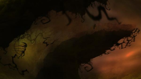 Screenshot: Das Strichmännchen wird von einem Monster gejagt, das ihn mit einer betäubenden Spritze die Sicht verschleiert hat.
